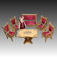 Majestic Early French Salon with cerise Silk Upholstery - By Louis Badeuille