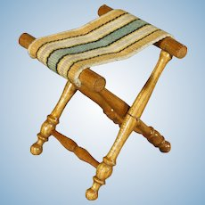 Rare Wooden Antique Folding Stool for your Doll - By Schneegas