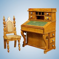 Antique German dollhouse Schneegas Davenport style desk with its Chair