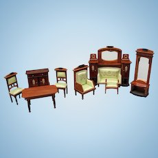 Antique German Dollhouse Furniture for Two-Rooms Dollhouse