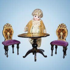 German Wooden Dollhouse Furnishings with Lithographed Paper Designs