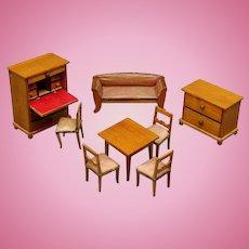 Antique German Dollhouse Furniture in Petite Size - Biedermeier Era