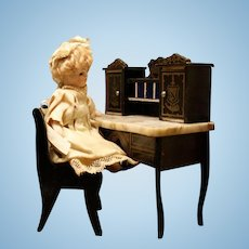 Biedermeier Lady Desk with Marble Top - By Wagner & Sohne