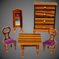 Dollhouse Faux Grained Dining Room with Light Finish and Colorful Upholstery