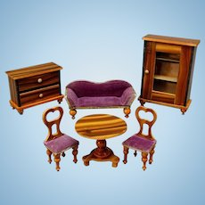 Dollhouse False Grained Furniture Set with Light Finish and Colorful Upholstery