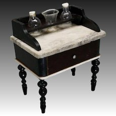 Biedermeier Dollhouse Washstand with Marble Top - by Kestner