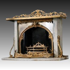 Wonderful Painted Metal Fireplace with Mirrored Front and Gilded Ornament
