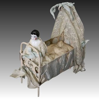 White Painted Metal Infant's Bed with Lace Veil