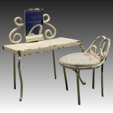 Lovely Antique Metal Dressing Table with its Chair