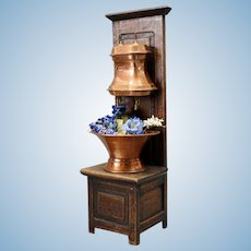 Outstanding Antique French Hanging Copper Water Fountain with Lavabo