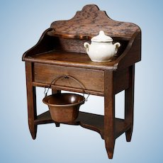 Antique Miniature Oak Server - Wooden Buffet