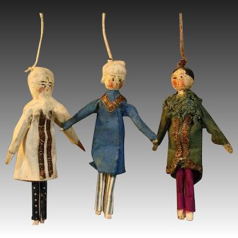 Three Antique Grodnertal Theater Dolls - for the French Market