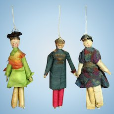 Three Early Wooden Theater Dolls