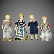 Four Early Theater Dolls in Original Costumes