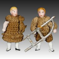 Pair of All-Bisque Tiny Dolls by Carl Horn with Sled and Teddy Bear