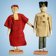 Early Wooden Theater Dolls - The Judge and the General