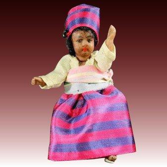 Antique Mulatto All-Bisque Lilliputian Doll
