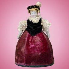 Charming Antique Bisque Dollhouse Doll as Pin-Cushion