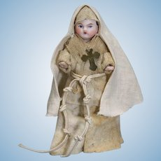Antique All-bisque Doll dressed as Nun - The Novice