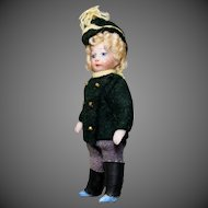Antique All-Bisque Soldier with Green Jacket
