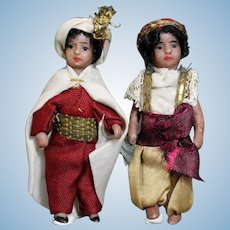 Pair of All-Bisque Mignonettes in Costume of Fairy Tales