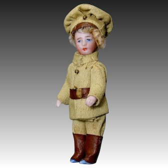 Antique French All-Bisque Tiny Doll - The English Soldier