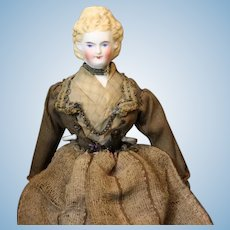 Antique Early Parian Dollhouse Doll with Beautiful Hair Style