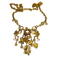"""Signed Kirks Folly """"Dance With Fairies"""" Crystal Charm Necklace Retired"""