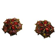 Vintage Signed Weiss Red Rhinestone Clip Earrings on Original Card