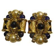 Stunning Vintage Faux Pearl, Cobalt Stone & Rhinestone Clip Earrings