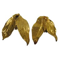 Vintage Signed Mosell Gold Tone Leaf Clip Earrings