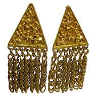 Vintage Signed Hobe Gold Tone Dangle Clip Earrings