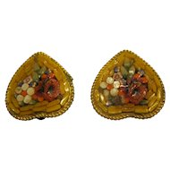 Vintage 1950's Mosaic Floral Heart Shaped Clip Earrings