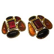 Large Signed Edouard Rambaud Paris Cabochon Clip Earrings