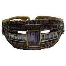 """Vintage Signed Heidi Daus """"Tailored Elegance"""" Jeweled Crystal  Cuff Bracelet"""