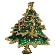 Rare Vintage Signed Best Enameled Christmas Tree Pin Broach Pendant