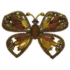 Vintage Signed Monet Jeweled Gold Tone Butterfly Pin Broach