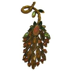 Vintage Signed Florenza Jeweled Gold Tone Pin Broach