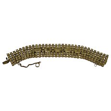 Vintage Signed Weiss Wide 6 Row Rhinestone Bracelet
