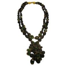 Vintage Signed SCHIAPARELLI Black Green Glass Bead Necklace Pendant