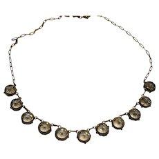 Antique Edwardian Sterling Silver Light Blue Open Set Paste Riviere Necklace