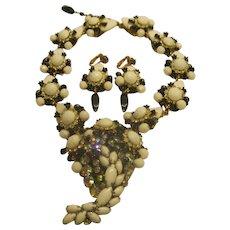 Vintage Signed Stanley Hagler Black and White Necklace Clip Earrings Set