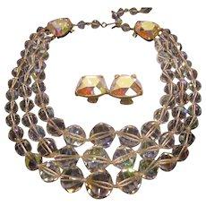Vintage Signed Laguna Aurora Borealis Crystal 3 Strand Necklace Clip Earrings Set