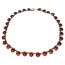 Antique Georgian Sterling Silver French Paste Pink Open Riviere Choker Necklace