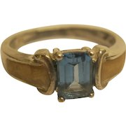 Vintage Signed AVON Sterling Silver Blue Stone Ring Sz 9.5