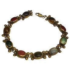 Vintage Signed Mexico Sterling Silver Natural Gemstone Cabochon Link Bracelet 12.4 Grams