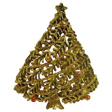 Book Piece Vintage Signed Gerrys Christmas Tree Pin Broach
