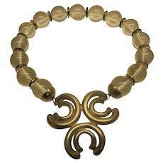 Vintage 1970's Signed Modernist Pierre Cardin Lucite Bead Metal Logo Pendant Necklace