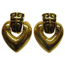 Vintage Signed Givenchy Logo Door Knocker Heart Shaped Clip Earrings