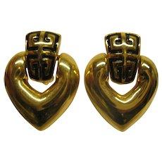 Vintage Signed Givenchy Logo Door Knocker Heart Shaped Clip Earrings